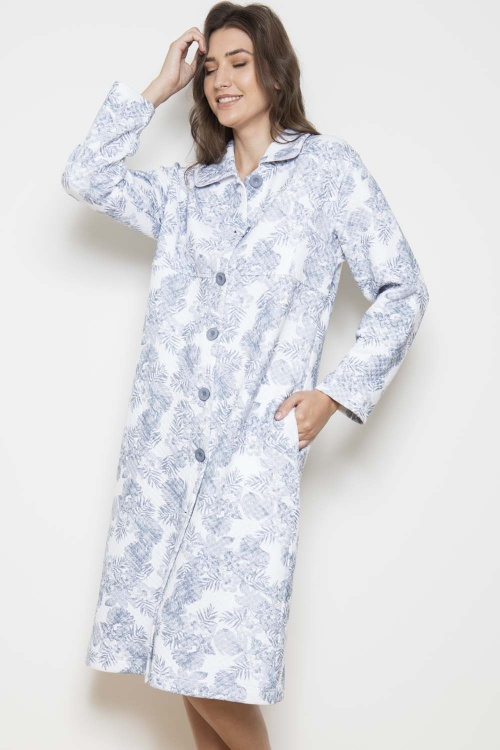Pebble Palm QUILTED 100%  Cotton Interlock Button Robe